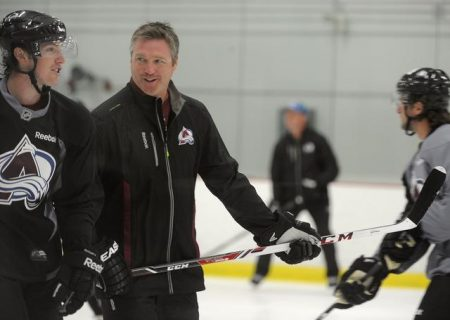 CENTENNIAL, CO - Oct. 1: The Colorado Avalanche Hockey team and new head coach Patrick Roy take to the ice for practice at the Family Sports Center. (Photo By Kathryn Scott Osler/The Denver Post)