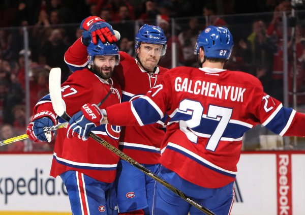 Nov 12, 2016; Montreal, Quebec, CAN; Canadiens defenseman Shea Weber (6) celebrates his goal against Detroit Red Wings with teammates center Alex Galchenyuk (27) and right wing Alexander Radulov (47) during the first period at Bell Centre. Mandatory Credit: Jean-Yves Ahern-USA TODAY Sports