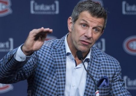 Montreal Canadiens general manager Marc Bergevin responds to a question during a news conference reviewing the NHL team's season Friday, May 15, 2015 in Brossard, Que. The Canadiens lost to the Tampa Bay Lightning in the second round of Stanley Cup Playoffs to end their season. THE CANADIAN PRESS/Paul Chiasson